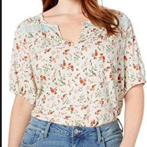 Lucky Brand Women's Plus Size 2X Floral Print Top